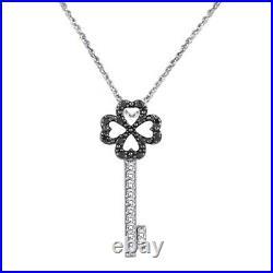 1/4 Ct Black and White Diamond Heart Key Pendant with18 Chain 10K White Gold-IGI