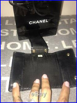 100% Authentic Chanel CC Logo Black Leather 6 Ring Key Case Shopping Bag