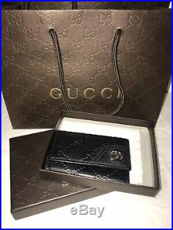 100% Authentic Gucci Guccissima Black Canvas Leather 6 Key Ring Holder Italy