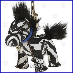 100% Authentic MCM Visetos Key Holder Key Ring Horse Black & White MYZ4SVI31BW