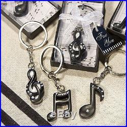 100 Music Notes Key Chain Bridal Shower Wedding Sweet Sixteen Favor Bulk Lot