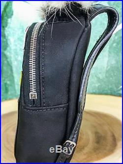 $1000 FENDI Monster Black Backpack Bag Charm Purse Leather Fur Key Ring SALE