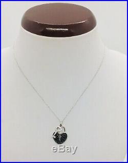 10K WHITE GOLD. 65 CT t. W. Genuine black Diamond lock key PENDANT Charm necklace