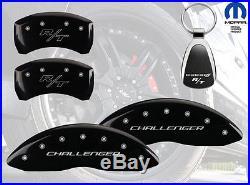 2011-2015 Dodge Challenger Logo Black Brake Caliper Covers Front Rear & Keychain