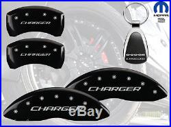 2011-2015 Dodge Charger Logo Black Brake Caliper Covers Front Rear & Keychain