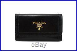 $295 PRADA Black Leather VITELLO SHINE Key Case Holder Ring Chain NEW COLLECTION