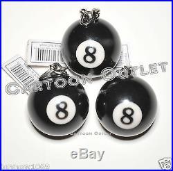 3 PCS 8 BALL KEY CHAINS RING BILLIARD POOL KEY CHAIN BLACK BALL eightball RINGS