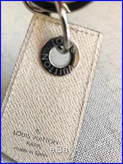 $330 LOUIS VUITTON Enchappes Key Ring Holder Black Damier Graphite Canvas Pins