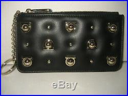 $375 NEW Salvatore Ferragamo Gancini Studs Black Leather Small Wallet Key Chain