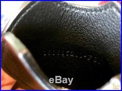 $385 FENDI Black Leather Flower Embellished Mirror Bag Charm Key Chain SALE
