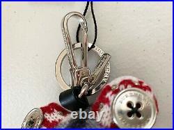 $395 Burberry Doris The Frog Studded Bag Charm Stuffed Animal Key Ring Black Red