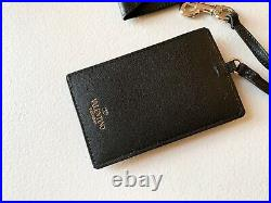 $495 Valentino Rockstud Leather Card Case Cardholder Keychain Keyring Black