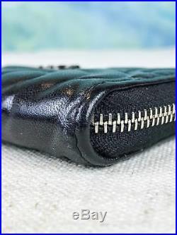 $650 CHANEL Camellia Black Floral Embossed Leather Key Holder Wallet Logo SALE