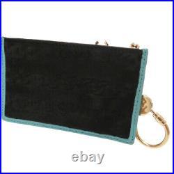 AUTH CHANEL coin purse with key chain coin purse Calf Hair Black/Turquoise 0226