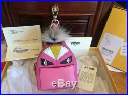 AUTH FENDI Fur Monster Backpack Mini Bag Charm Key Chain $1000 MSRP Italy withBox