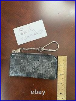 AUTH LOUIS VUITTON Damier Graphite Checkerboard Key CLES Card Pouch wallet Case