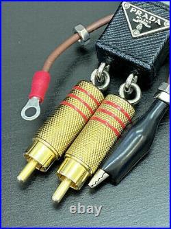 AUTH Prada Keyring Bag Charm Key Holder Robot Logo Black A-1732
