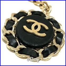 AUTHENTIC CHANEL CC Bag Charm B16B Key Holder Black x Soft Gold Chain/Leather