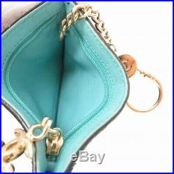 AUTHENTIC CHANEL Coin Case with Key Chain Black Turquoise Grade AB USED -CJ