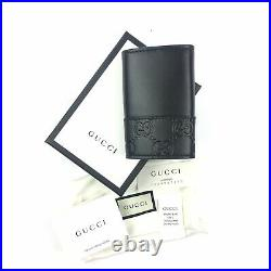 AUTHENTIC Gucci #256433 Black GG Leather Key Case, NWT