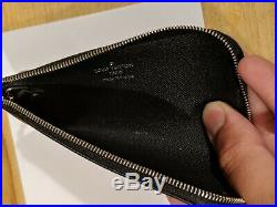 AUTHENTIC Louis Vuitton Key Pouch in black epi with silver keychain