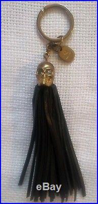 Alexander McQueen tassel skull key ring, key chain black, gold hardware