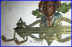 Antique Judd Black Boy Wall Art Cast Iron Key Tie Chain Leash Hook Rack Holder