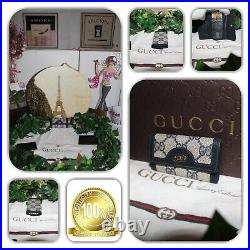 Atypical Gucci Leather Gg Monogram Coated Canvas Key Chain 4 Hook Holder