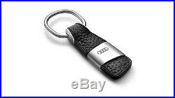 Audi Key Ring Keyring Metal & Black Cow Leather Best Gift Genuine New
