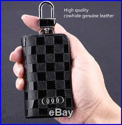 Audi Leather Car Key Keychain Fob Case Holder Zipper Case Cover Black