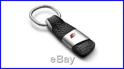 Audi S Sport Key Ring Chain Metal & Black Leather Best Gift Genuine New