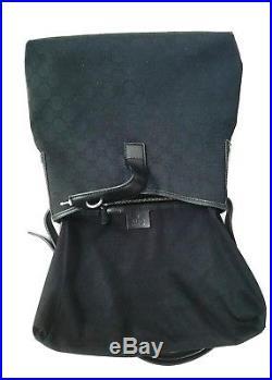 Auth Black Gucci Monogram GG Piston Lock Hobo Shoulder/Crossbody & Key Chain