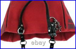 Auth Burberry London Blue Label Tote Hand Bag Red Cotton & Black Leather Purse