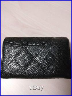 Auth. CHANEL 6-ring key case. Matelasse Caviar leather. Black