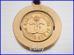 Auth CHANEL CC Logo Vintage Mademoiselle Key Holder Charm Black/Goldtone e39426
