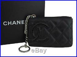 Auth CHANEL Cambon Line Coin Key Case Black/Silvertone Leather/Patent e42817