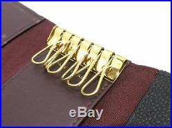 Auth CHANEL Matelasse Black Caviar Skin Key Case Gold Hardware