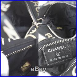 Auth CHANEL No. 5 Logos Key Chain Pouch Bag Canvas Black Silver Italy 67BQ118