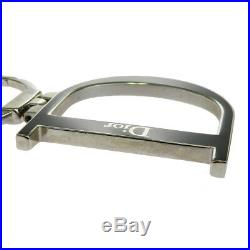 Auth Christian Dior Key Chain Bag Charm Silver Black Metal Made In Italy 07EJ091