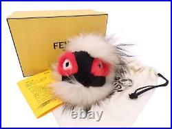 Auth FENDI Bag Bugs Monster Bag Charm Off White/Black/Red Fur/Silvertone e48660g
