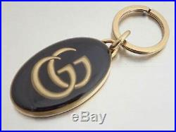 Auth Gucci GG Key Ring Gold/Black Goldtone e40834