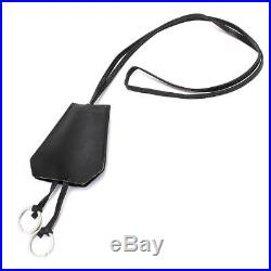 Auth HERMES Clochette Key Chain Neck strap Black Box Calf Leather 90049458
