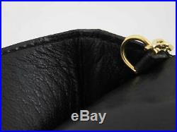 Auth HERMES Dogon Key Case Card Case Black/Goldtone Clemence Leather e42402