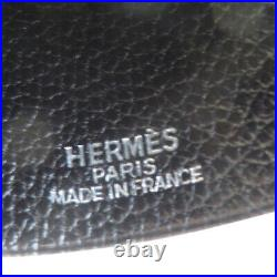 Auth HERMES Logo Necklace Clochette Leather Key Ring Silver Black France 64MH904