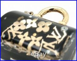Auth LOUIS VUITTON BAG CHARM M65444 Speedy Inclusion Gold & Black Monogram Logo