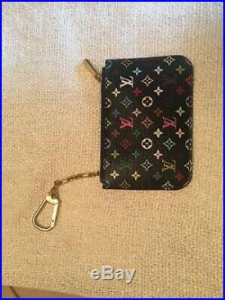 Auth LOUIS VUITTON Black Multicolor Monogram Key Cles Chain Case Pouch #32132