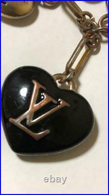 Auth Louis Vuitton Bijou Sac Cool Heart Black Gold Key Ring Bag Charm Key Chain