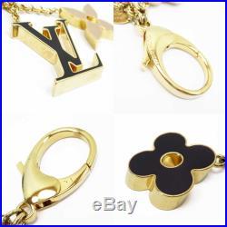 Auth Louis Vuitton Fleur De Monogram Bag Charm Gold/Black/Beige M67119 h22298