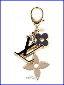Auth Louis Vuitton Fleur De Monogram Bag Charm Gold/Black/Beige M67119 h22298
