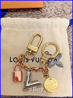 Auth Louis Vuitton Kaleido V Bag Chain Key Holder Gold/Silver/Black Metal Italy